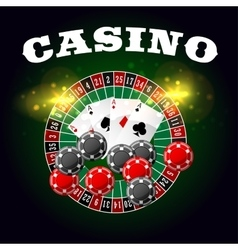 Casino poster roulette and poker cards vector