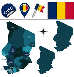 Chad map with named divisions vector image