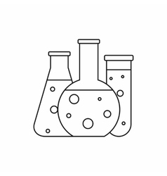 Chemical laboratory flasks icon outline style vector image vector image
