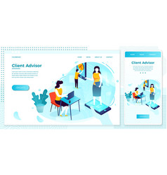 client advisor girl in phone vector image