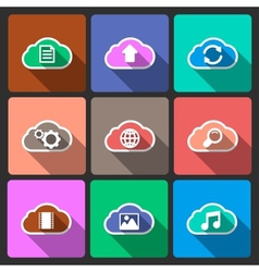 Cloud UI layout icons squared shadows vector