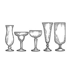 cocktail glasses set sketch engraving vector image