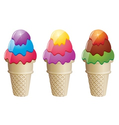 colorful icecream cones vector image