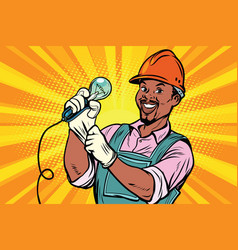 construction worker with light bul vector image