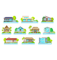 cottage houses on lake or river home buildings set vector image