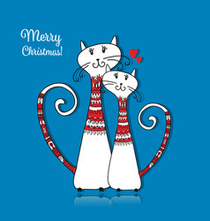 Couple of cats in cozy sweaters christmas card vector