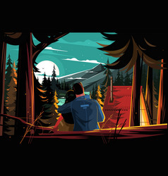couple resting in pine forest vector image