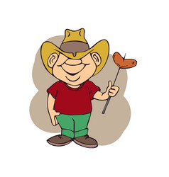 Cowboy was holding food barbeque vector