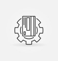 Credit card in gear outline icon card vector