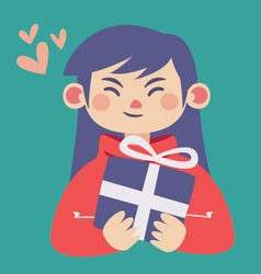 Cute Girl Holding a Present vector image