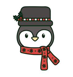 cute penguin head with hat and scarf celebration vector image