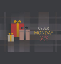 cyber monday present box background vector image