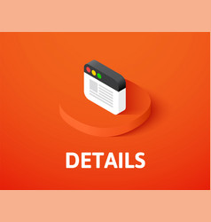 Details isometric icon isolated on color vector