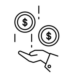 dollar coins in hand and cash money linear icon vector image