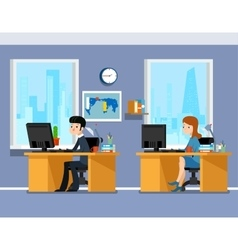 Employees creative team working in the office vector