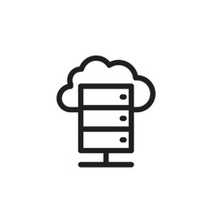 flat line server icon symbol sign logo template vector image