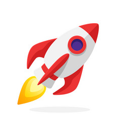 flat rocket space ship with flame vector image