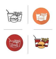 Food flat design linear and color icons set vector image vector image