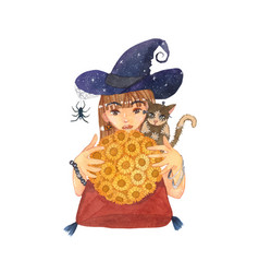 fortuneteller witch and zombie cat with sunflower vector image