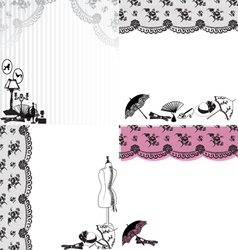 Four backgrounds with vintage accessories vector image