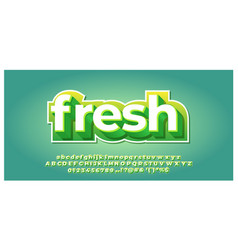 Fresh green and white 3d font styles design vector