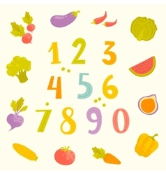 Fruits and vegetables numerals for kids vector