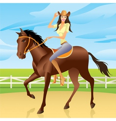 Girl is riding a horse in western style vector
