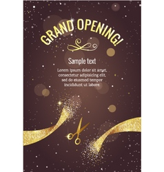 Grand opening banner with golden splashes vector
