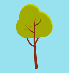 Green summer tree with brown stem isolated on blue vector