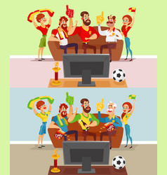 Groups of people watching a football match on tv vector