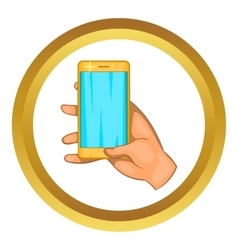 Hand works on a mobile phone icon vector