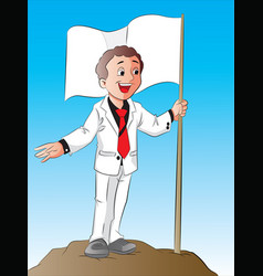 happy businessman standing alongside a green flag vector image