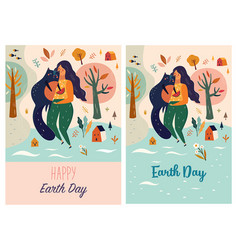 Happy earth day template with woman and cat vector