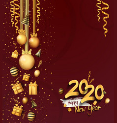 Happy new year 2020 golden number with christmas vector
