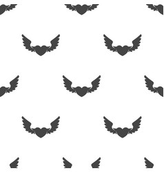 heart with wings seamless pattern vector image