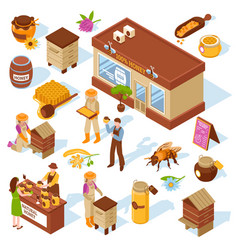 Honey farm isometric icons set vector