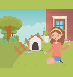House for mascot and girl cartoon design vector