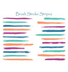 ink blue brush stroke stripes set vector image