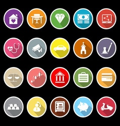 Insurance related flat icons with long shadow vector image