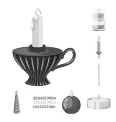 isolated object of paraffin and fire icon vector image