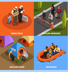 Isometric refugees design concept vector