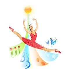 Jumping ballet dancer vector