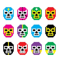Lucha Libre luchador pixelated Mexican wrestling vector