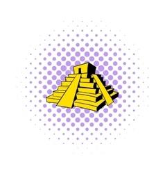 Mayan pyramid icon comics style vector