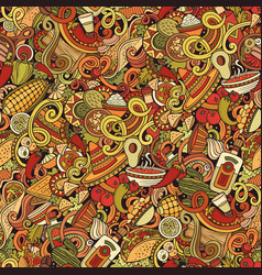 mexican food hand drawn doodles seamless pattern vector image