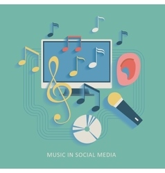 Musical social media background vector image