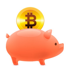 piggy bank icon golden bitcoin coin vector image
