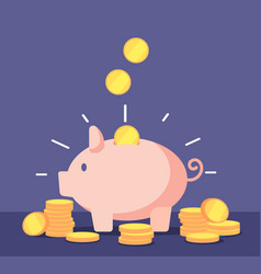 Piggy bank with golden coins save money deposit vector