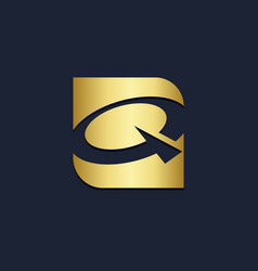 Q letter initial square gold logo vector