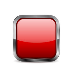 Red glass button shiny 3d square icon vector